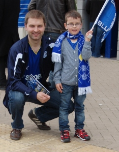 Marius and Jarle outside the Cardiff City Stadium.
